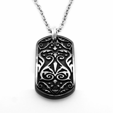 Edward Mirell Heritage Black Titanium and Sterling Silver Dog Tag