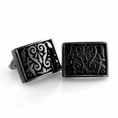 Edward Mirell Heritage Black Titanium Rectangle Cufflinks