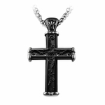 <b>Edward Mirell Heritage Collection :</b><br>Black Titanium Cross Pendant Necklace