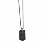 <b>Edward Mirell Heritage Collection :</b><br> Edward Mirell Black Titanium and Sterling Silver Small Dog Tag on Large Black Titanium Tag with Steel Chain