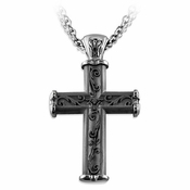 <b>Edward Mirell Heritage Collection :</b><br>Gray Titanium Cross Pendant Necklace