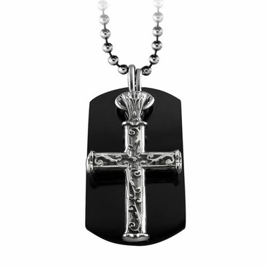 <b>Edward Mirell Heritage Collection :</b><br>Lattice Black Titanium Cross Dog Tag