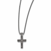 <b>Edward Mirell Heritage Collection:</b><br>Satin and Polished Titanium Cross Pendant Necklace with Steel Chain