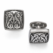 <b>Edward Mirell Heritage Collection :</b><br> Titanium Casted Large Cushion Cufflinks