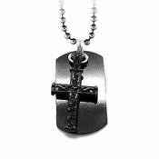 Edward Mirell Heritage Small Lattice Black Titanium Cross Dog Tag