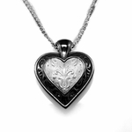 Edward Mirell Lace Black Titanium Heart Necklace
