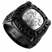 Edward Mirell Lace Black Titanium Signet Ring