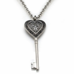 Edward Mirell Lace Gray Titanium Heart Key Necklace