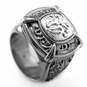 Edward Mirell Lace Gray Titanium Signet Ring