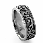 Edward Mirell Lattice 8.5mm Gray Titanium Ring