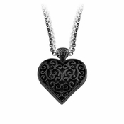 Edward Mirell Lattice Black Titanium Heart Necklace