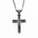 Edward Mirell Lattice Gray Titanium Cross Necklace