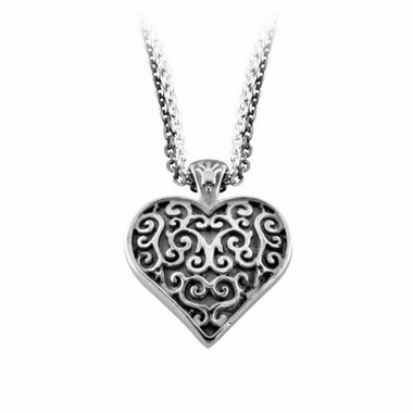 Edward Mirell Lattice Gray Titanium Heart Necklace