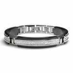 Edward Mirell Mediterranean Black and Gray Titanium Bracelet with Hammered Center