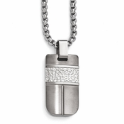 <b>Edward Mirell Mediterranean Collection :</b><br? Titanium and Sterling Silver Hammered Pendant Necklace
