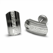<b>Edward Mirell Mediterranean Collection:</b><br>Gray Titanium and Silver Cufflinks