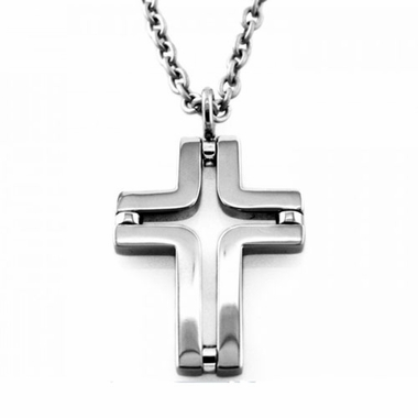 Edward Mirell N052A Gray Titanium Cut-Out Cross Pendant