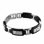 Edward Mirell Pulse Black Titanium Bracelet with Sterling Silver