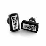 Edward Mirell Pulse Black Titanium Diamond Cufflinks with Sterling Silver