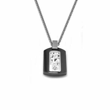 Edward Mirell Pulse Black Titanium Diamond Necklace with Sterling Silver