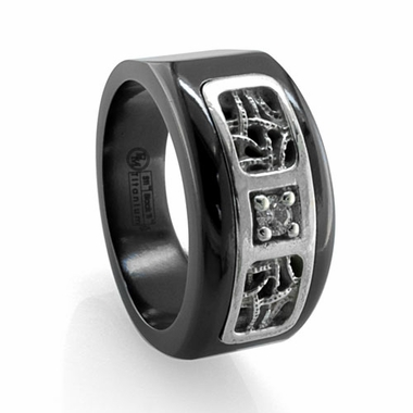 Edward Mirell Pulse Black Titanium Diamond Ring with Sterling Silver Inlay