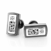 Edward Mirell Pulse Titanium Diamond Cufflinks with Sterling Silver