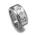 Edward Mirell Pulse Titanium Diamond Ring with Sterling Silver Inlay