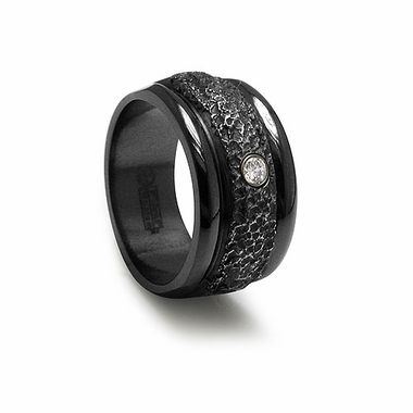 Edward Mirell Racer Black Titanium and Diamond Ring with Hammered Center