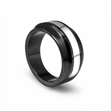 Edward Mirell Racer Black Titanium Ring with Silver Inlay