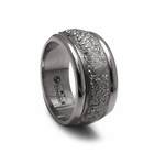 Edward Mirell Racer Gray Titanium Ring with Hammered Center