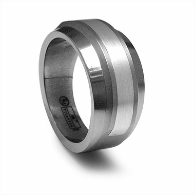 Edward Mirell Racer Gray Titanium Ring with Silver Inlay