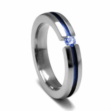 <b>Edward Mirell Radiance Collection :</b><br>3mm Anodized Grooved Titanium and Blue Sapphire Tension Set Ring