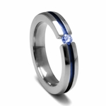 <b>Edward Mirell Radiance Collection :</b><br>4mm Anodized Grooved Titanium and Blue Sapphire Tension Set Ring