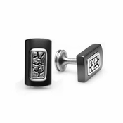 Edward Mirell Rage Black Titanium and Silver Cufflinks