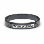 Edward Mirell Rage Black Titanium Bangle Bracelet with Silver Inlay