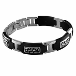Edward Mirell Rage Black Titanium Bracelet with Sterling Silver