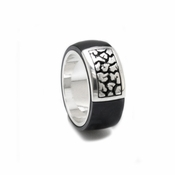 Edward Mirell Rage Black Titanium Ring with Silver Inlay