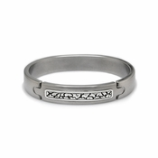 Edward Mirell Rage Gray Titanium Bangle Bracelet with Silver Inlay