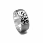 Edward Mirell Rage Gray Titanium Ring with Silver Inlay