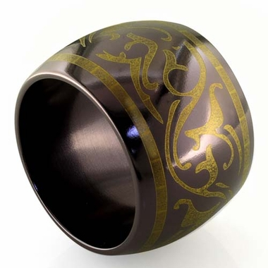 Edward Mirell Rain 16mm Black Titanium Ring in Anodized Copper