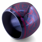 Edward Mirell Rain 16mm Black Titanium Ring in Anodized Pink