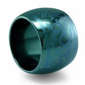 Edward Mirell Rain 16mm Black Titanium Ring in Anodized Teal