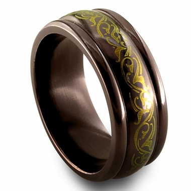 Edward Mirell Rain 8mm Black Titanium Ring in Anodized Copper