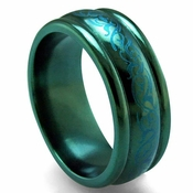 Edward Mirell Rain 8mm Black Titanium Ring in Anodized Teal