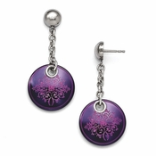 <b>Edward Mirell Rain Collection:</b><br> Black Titanium Anodized Pink and Sterling Silver Drop Rain Earring