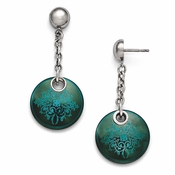 <b>Edward Mirell Rain Collection:</b><br>Black Titanium Anodized Teal and Sterling Silver Drop Rain Earring