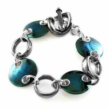 <b>Edward Mirell Rain Collection:</b><br> Black Titanium Teal Disc Bracelet