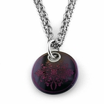 Edward Mirell Rain Pink Disc Black Titanium Necklace
