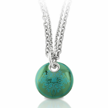 Edward Mirell Rain Teal Disc Black Titanium Necklace
