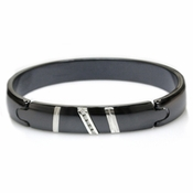 Edward Mirell Rapture Black Titanium and Diamonds Bangle Bracelet